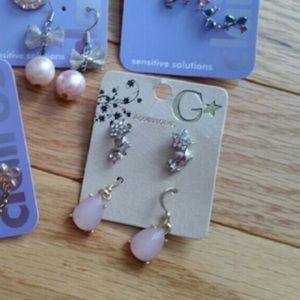 Pink Teardrop Earring Set